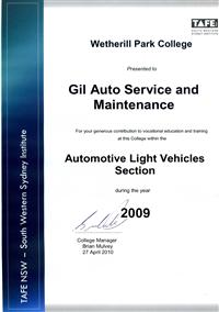 Tafe NSW awards certificate to Gil of Gil Auto