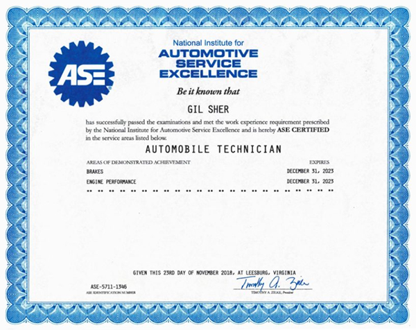ASC Automotive Service Excellence certification
