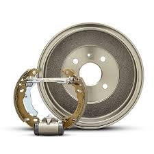 Brake disc drums are shaped like a short tube. their friction material is mounted on curved metal shoes which expand onto the rims to slow the car to a stop